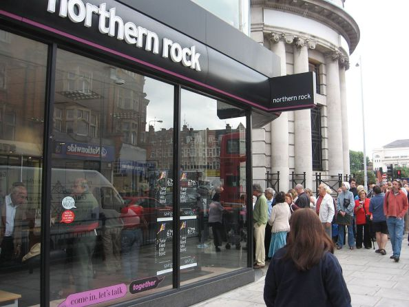 The run on Northern Rock bank branches in 2007 is an example of a positive feedback.
